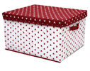 OEM Durable PP Non Woven Storage Boxes with Cover , White Red Dots Printed