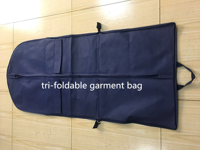 Tri-foldable Suit Garment Bag navy non woven and polyester with shoe pocket