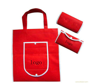 China OEM ODM Red Foldable Shopping Bag / Non Woven Gift Bags Personalized factory