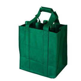 China Durable Green Non Woven Shopping Bag  Wine Bottle Totes ISO9001 Certification factory