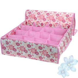 Pink Orange Non Woven Multi Compartment Storage Boxes for Underwear