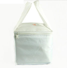 600D Polyester 24 Can Insulated Picnic Bag , Promotional Lunch Bag White Color
